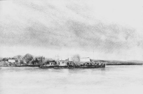 """abandonded boat yard charcoal 16"""" x12"""""""