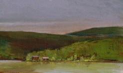 "Hudson River Rainy Morning, Oil Pastel, Image Size 9.5"" X 6.25"" Framed Cherry 15.5"" X 11.5"" $475.00"